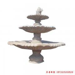 石雕三层鲤鱼喷泉跌水盆