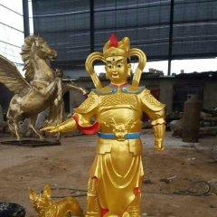二郎神和哮天犬銅雕