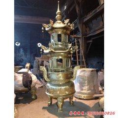 銅雕宗教廟宇三足香爐塔