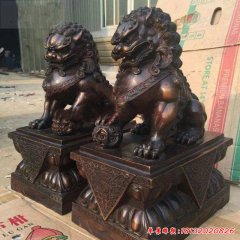 小区企业门口铜雕狮子