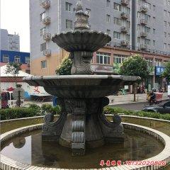 石雕小区双层喷泉