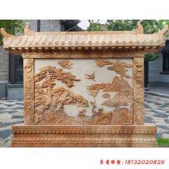 石雕松鹤延年浮雕影壁