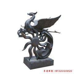 广场抽象凤凰铜雕