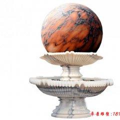 石雕双层草白玉风水球喷泉