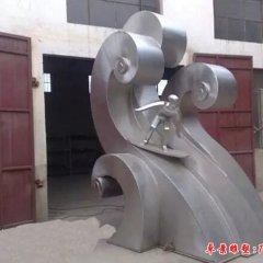 不銹鋼抽象沖浪人物雕塑