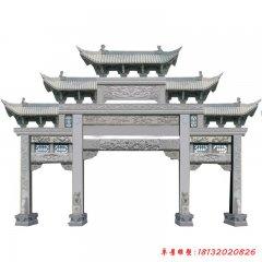 公园景区大理石三门牌坊雕塑
