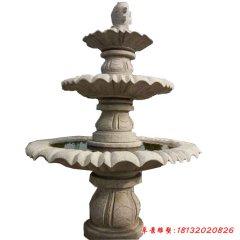 公园三层跌水盆喷泉石雕