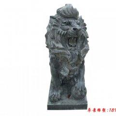 大理石欧式踩球狮子雕塑