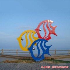 大型不锈钢彩色抽象鱼雕塑