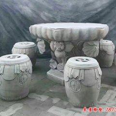 荷花浮雕石桌凳