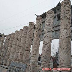 石雕十二生肖浮雕文化柱