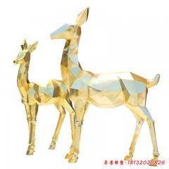 不锈钢彩色镜面几何鹿