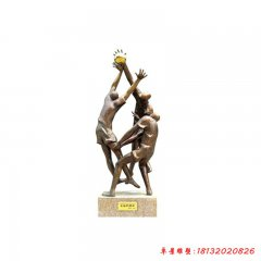 銅雕抽象打籃球人物