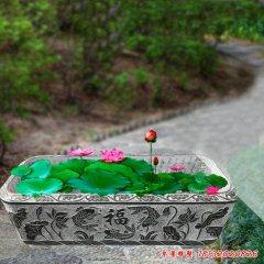 公园小区方形石雕荷花缸