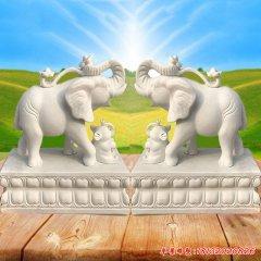门口招财进宝大象石雕