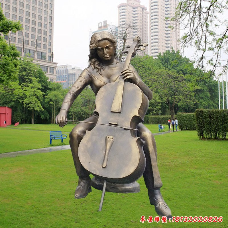 玻璃鋼仿銅拉大提琴的女孩雕塑