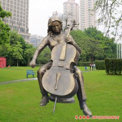 玻璃鋼仿銅拉大提琴的女孩