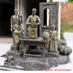 玻璃鋼仿銅做南瓜餅的人物雕塑
