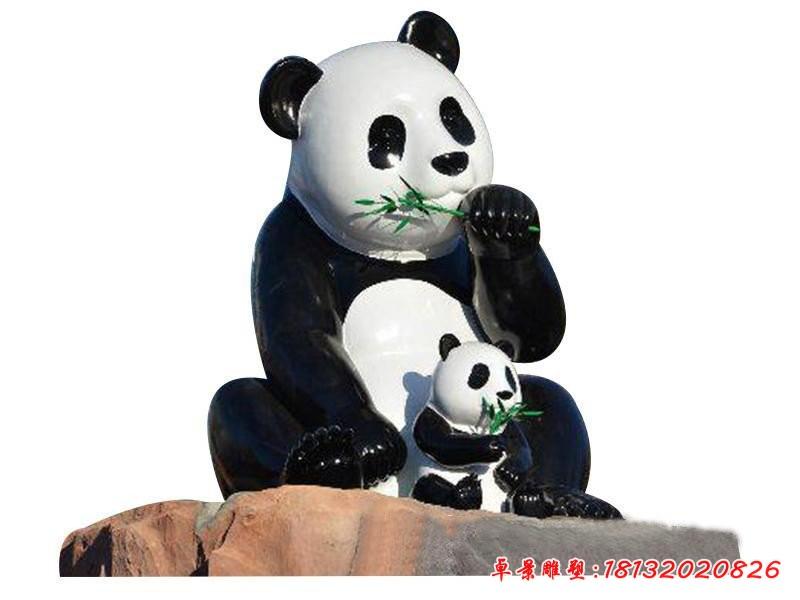玻璃鋼仿真吃竹子的熊貓雕塑