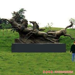 公園銅雕奔馬
