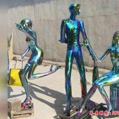不锈钢逛街购物人物雕塑