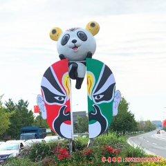 不锈钢卡通熊猫和脸谱雕塑