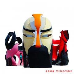 不锈钢三面脸谱雕塑