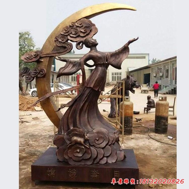 神话人物嫦娥奔月铜雕
