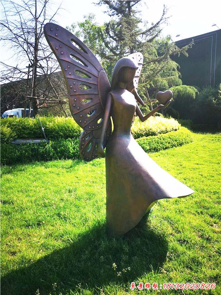 抽象蝴蝶女孩铜雕