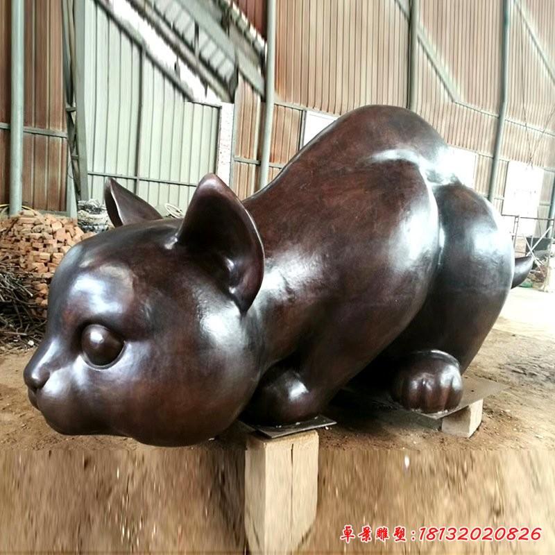 公园铜雕猫