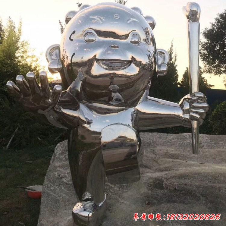 不锈钢举火炬的卡通儿童雕塑