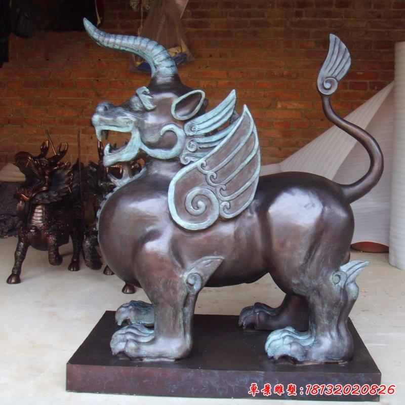 铜雕獬豸独角兽雕塑