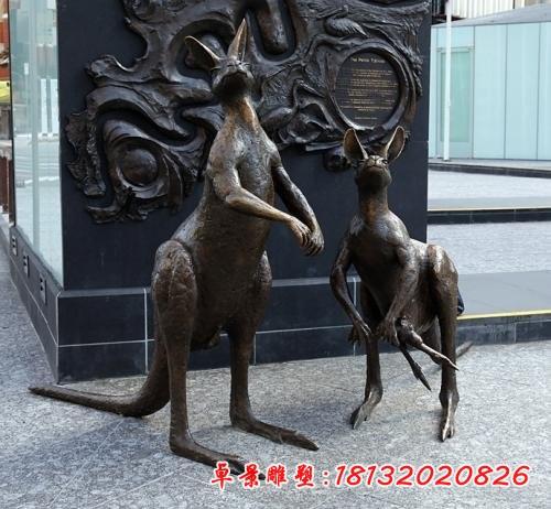 公园动物袋鼠铜雕