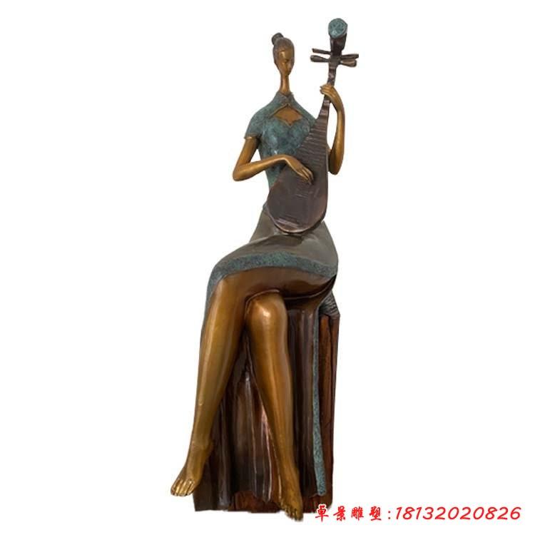 弹琵琶的人物铜雕