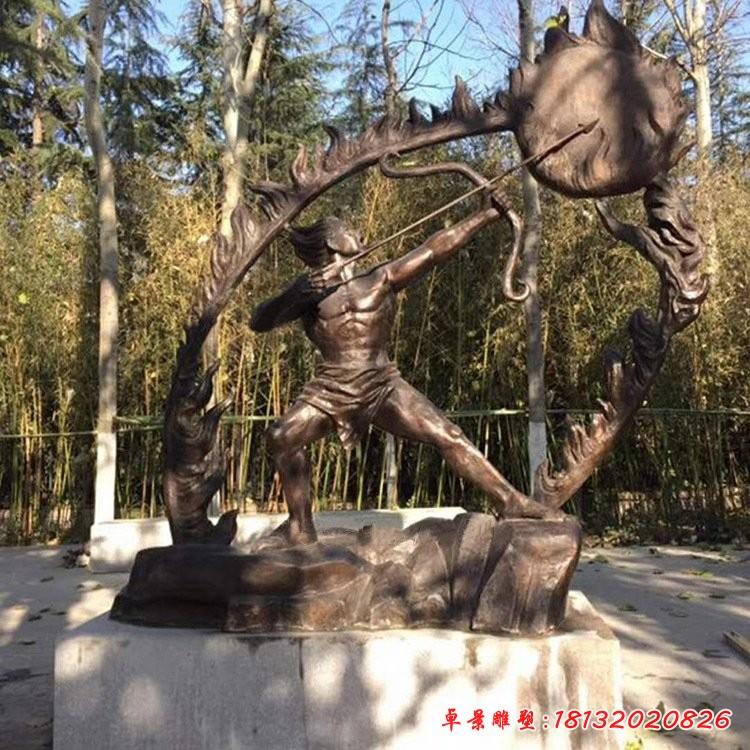 神话人物后羿射日铜雕