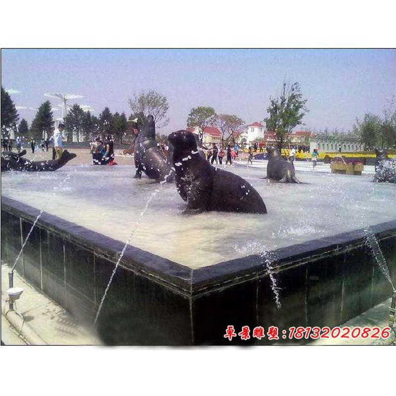 公园动物铜雕海豹