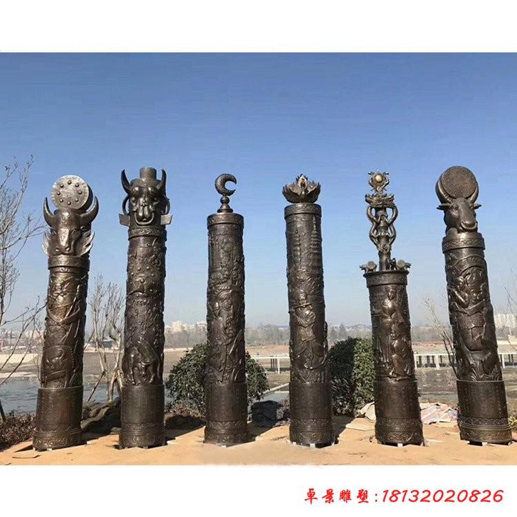 广场文化柱铜雕