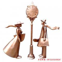 铜雕情侣幸福一站雕塑