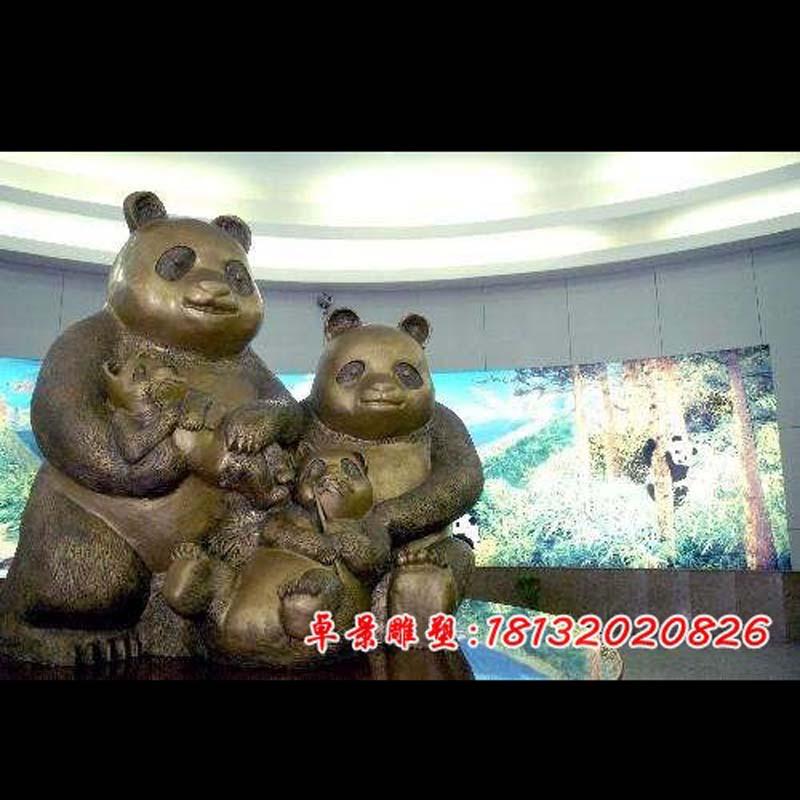 公园动物铜雕熊猫
