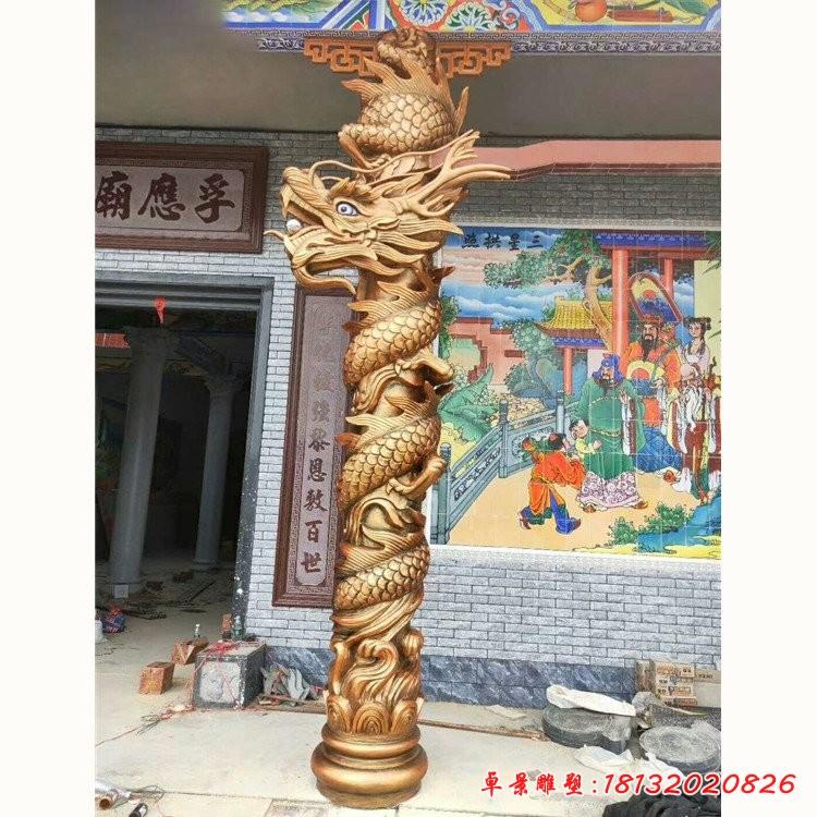 寺庙龙柱铜雕