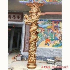 铜雕寺庙盘龙柱