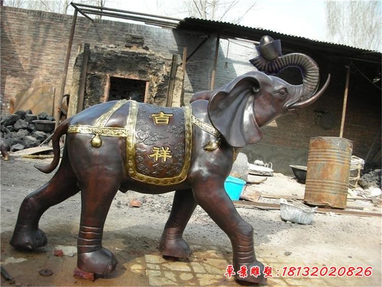 門口吉祥大象銅雕