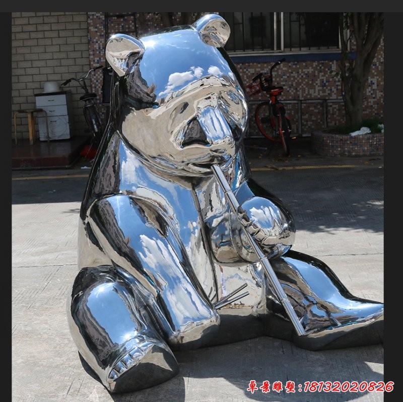 不锈钢镜面卡通熊猫雕塑