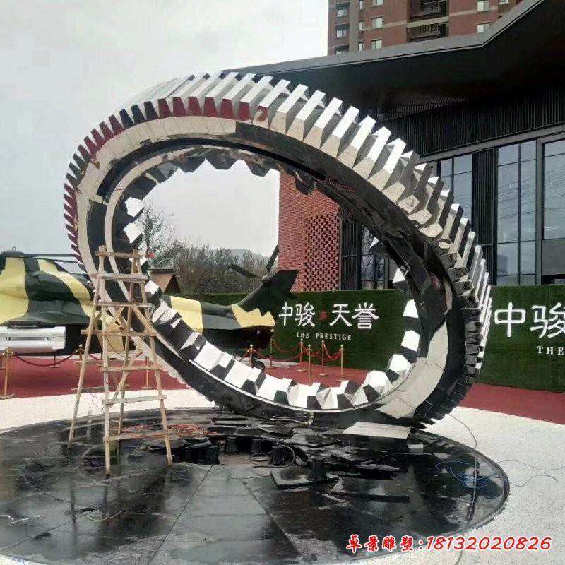 鏡面不銹鋼齒輪雕塑