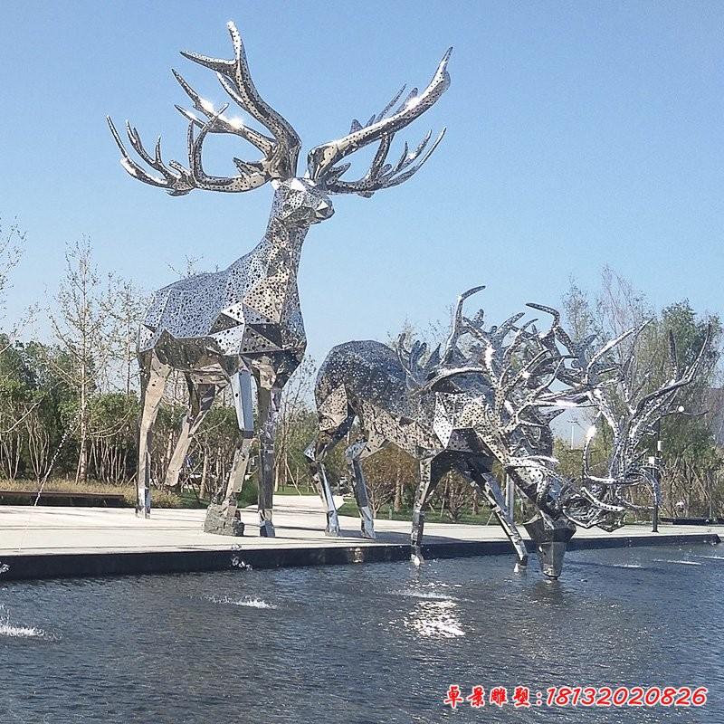 大型不銹鋼鹿雕塑