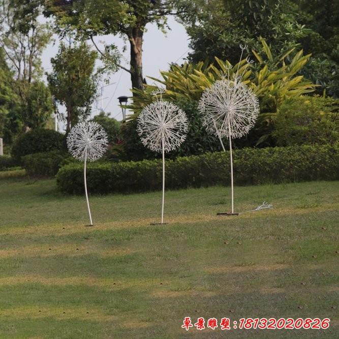 不銹鋼植物蒲公英雕塑