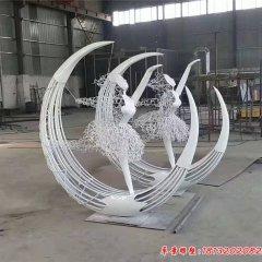 不锈钢抽象芭蕾舞女孩雕塑