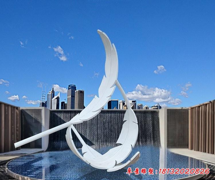 公园不锈钢羽毛雕塑