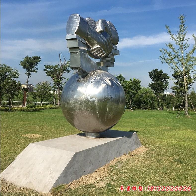 不锈钢合作共赢雕塑