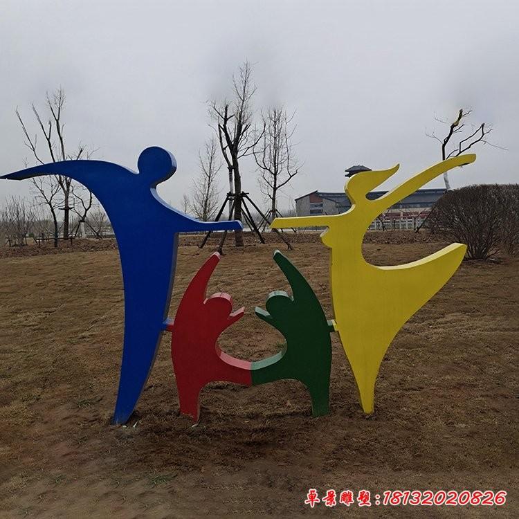 不锈钢抽象一家四口剪影雕塑